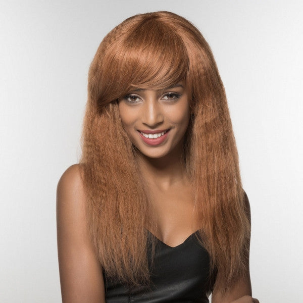 "23"" Virgin Remy Human Hair Full Net Cap Woman Long Curly Hair Wig with Bang Camel"