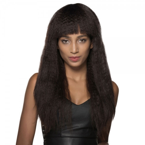 "23"" Virgin Remy Human Hair Full Net Cap Woman Long Curly Hair Wig with Bang Dark Brown"