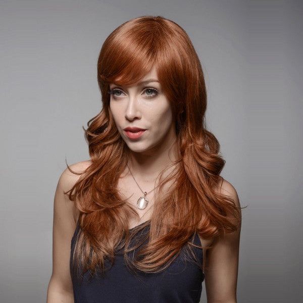 "23"" Virgin Remy Human Hair Full Net Cap Woman Long Curly Hair Wig with Bang Golden Brown"