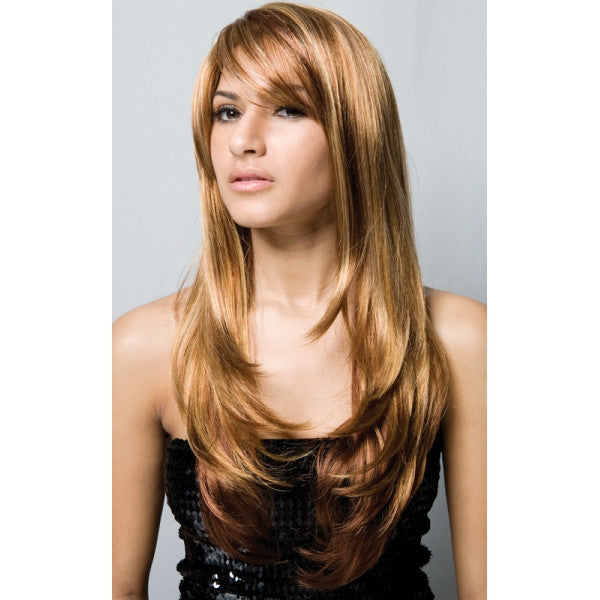 "24"" Long Virgin Remy Human Hair Wig with Bang Golden Color New"