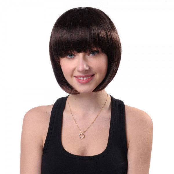 25cm Women Synthetic Fiber Eyebrow Bangs BOBO Style Short Straight Hair Wig Maroon Brown ss027-2t33