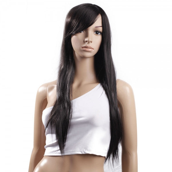 "28.9"" Stylish Long Straight Side Bang Hair Wig Black"