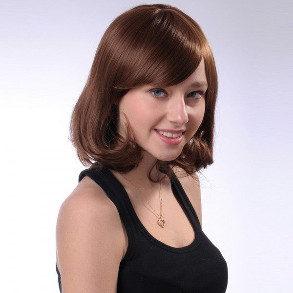 35cm Women Synthetic Fiber Side Bangs Rinka Style Short Curly Hair Wig Coffee sc031-12