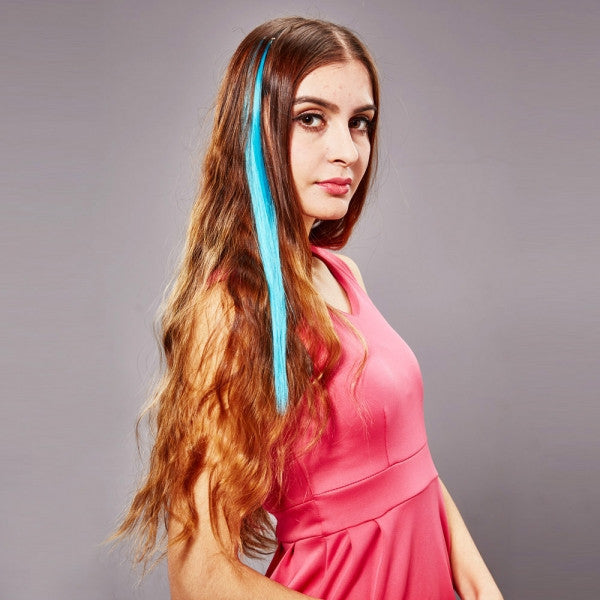 40cm Clip-on Women Synthetic Resistant Fiber Hair Extension Blue