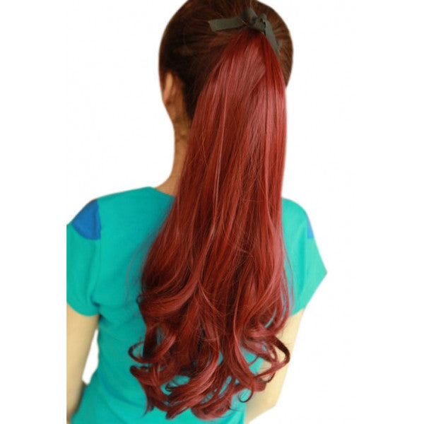 55cm Tied Type Women Chemical Fiber Long Curly Ponytail Hair Wig Wine Red pt055-118