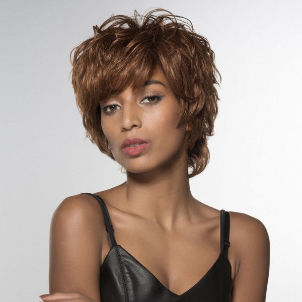 "6"" Virgin Remy Human Hair Full Net Cap Woman Short Curly Hair Wig with Bang Light Yellow Brown"