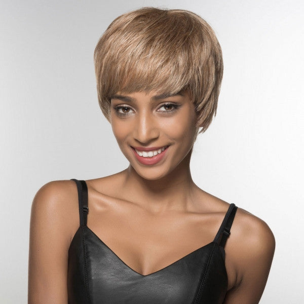 "6"" Virgin Remy Human Hair Full Net Cap Woman Short Straight Hair Wig with Bang Linen Brown"