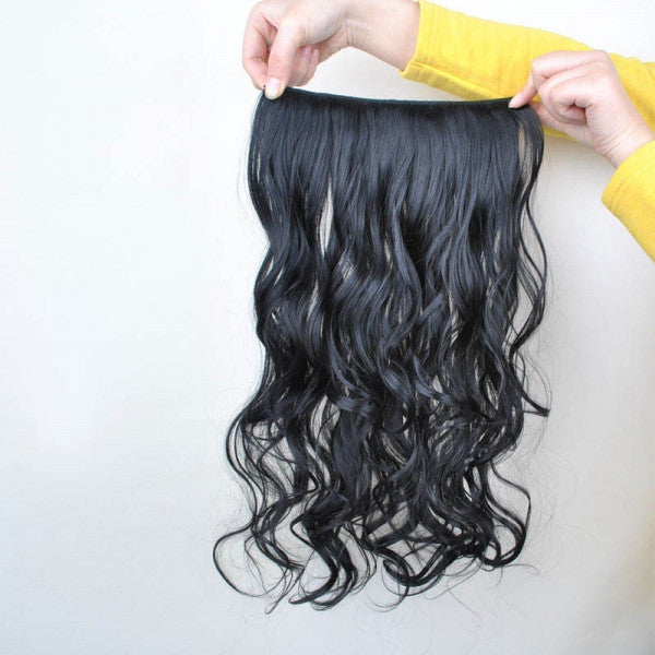 60cm 5-Clip-in Fashion Women High Temperature Resistant Chemical Fiber Long Curly Hair Wig Black ch010-2