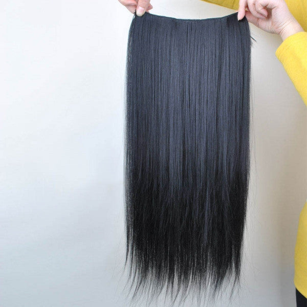 60cm 5-Clip-in Fashion Women High Temperature Resistant Chemical Fiber Long Straight Hair Wig Black ch011-2