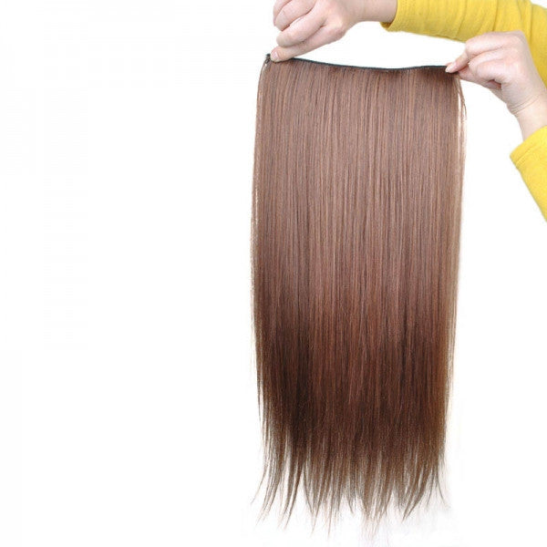 60cm 5-Clip-in Fashion Women High Temperature Resistant Chemical Fiber Long Straight Hair Wig Light Brown ch011-2t30