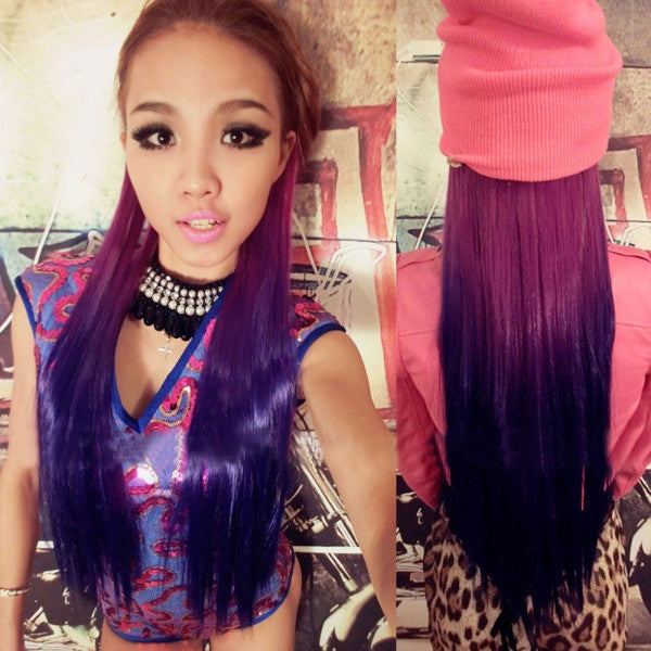 60cm Fashionable Women Synthetic Long Straight Hair Extension Mixed Color ch002-t2