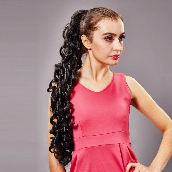 64cm Clip-on + Rubber Band Type Women Synthetic Resistant Fiber Long Curly Ponytail Hair Extension Black