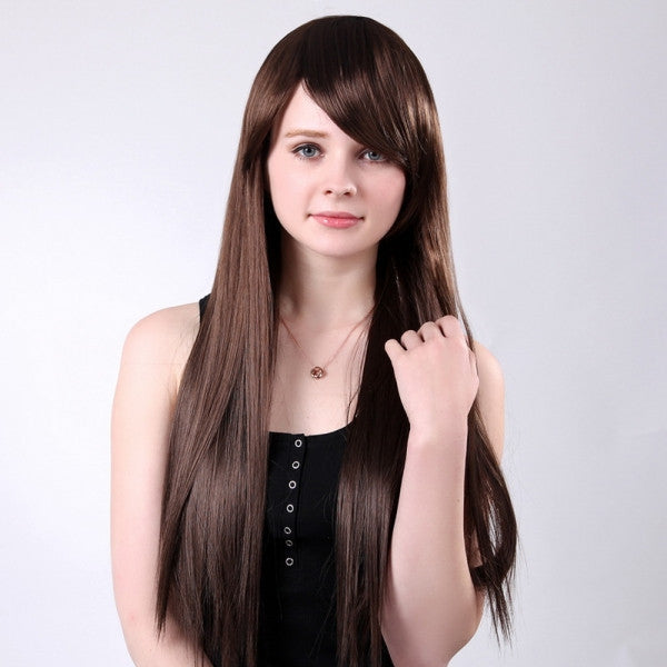 65cm Fashion Women Fiber Oblique Bang Long Straight Hair Wig Brown