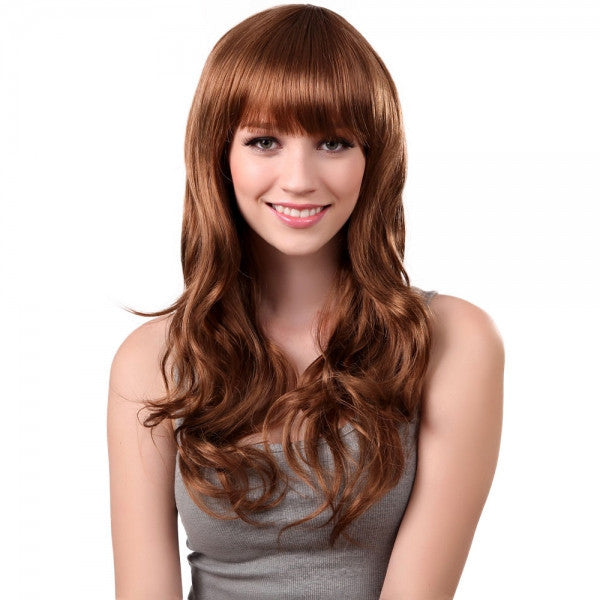 68cm Women Synthetic Fiber Eyebrow Bangs Long Curly Hair Wig Flax Yellow lc036-2730