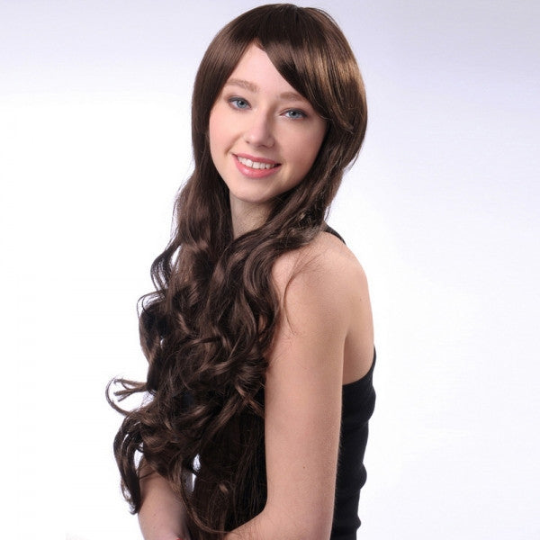70cm Women Synthetic Fiber Side Bangs Long Curly Hair Wig Dark Brown lc025-968