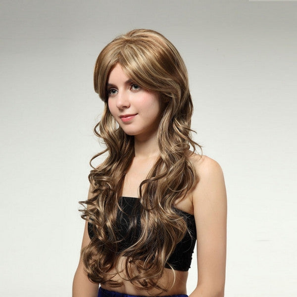 74cm Middle Side Flattering Style Long Curly Hair Wig Brown