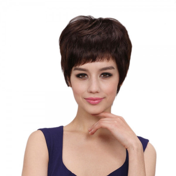 "8"" (6 : 4) Chinese Human Hair Non-remy Gummed Paper Net High Temperature Silk Chemical Fiber Woman Wig Dark Brown Slightly Curl MJ32"