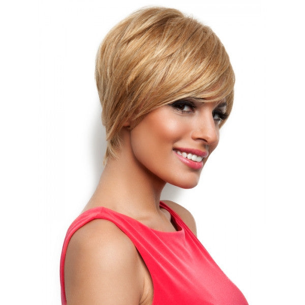 "8"" Women Natural Remy Human Hair Hair Wig with Bang Golden Color"