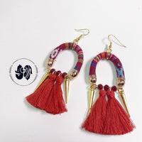 Festival tassel earrings | Red