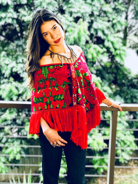 Hand embroidered poncho | One size