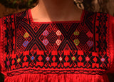 Hand embroidered blouse | Diamonds on red