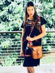 Carved leather shoulder bag | Floral w/ black stitching