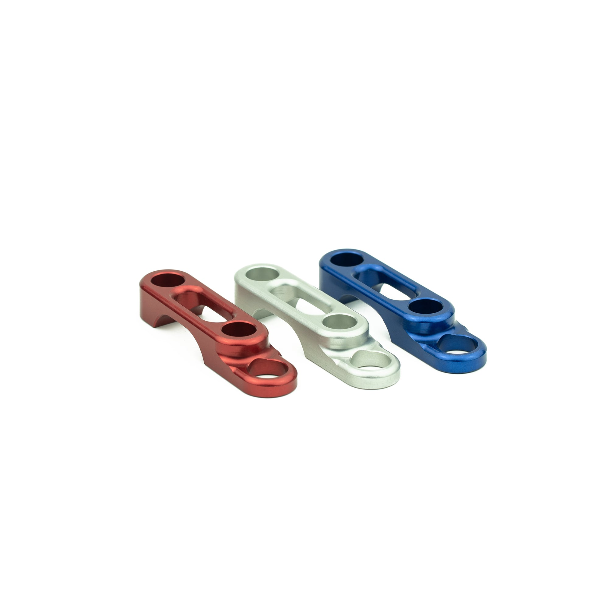 Hook keeper clamps used for rigging or attaching a leash to a fishing reel.