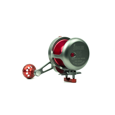 seigler's offshore fishing reel with red spool.