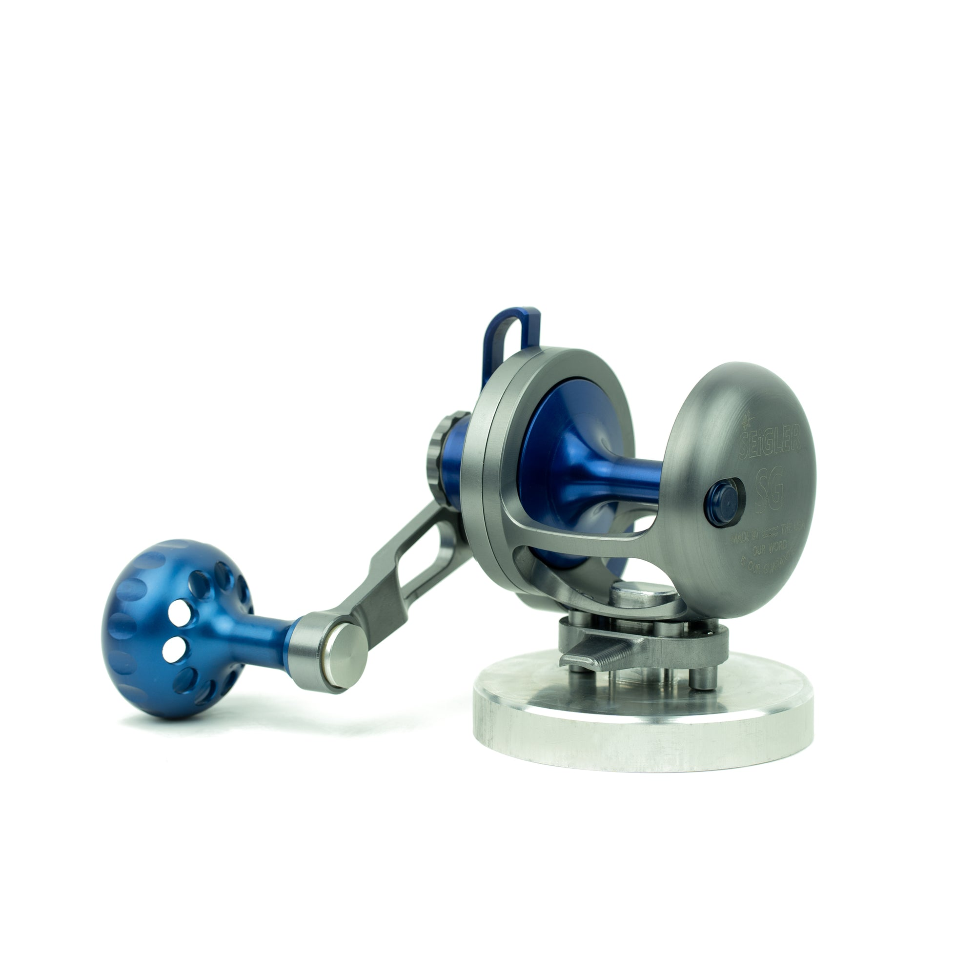 Reel stand for Seigler conventional fishing reels.