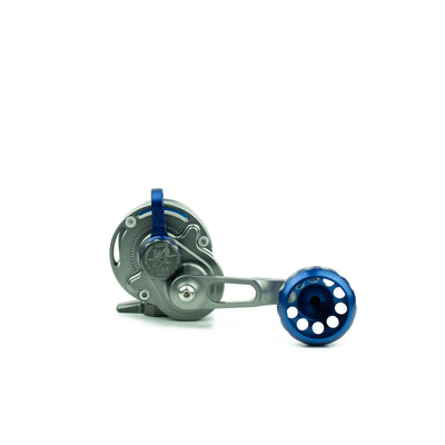 Custom fishing reel with blue made by Seigler fishing reels.