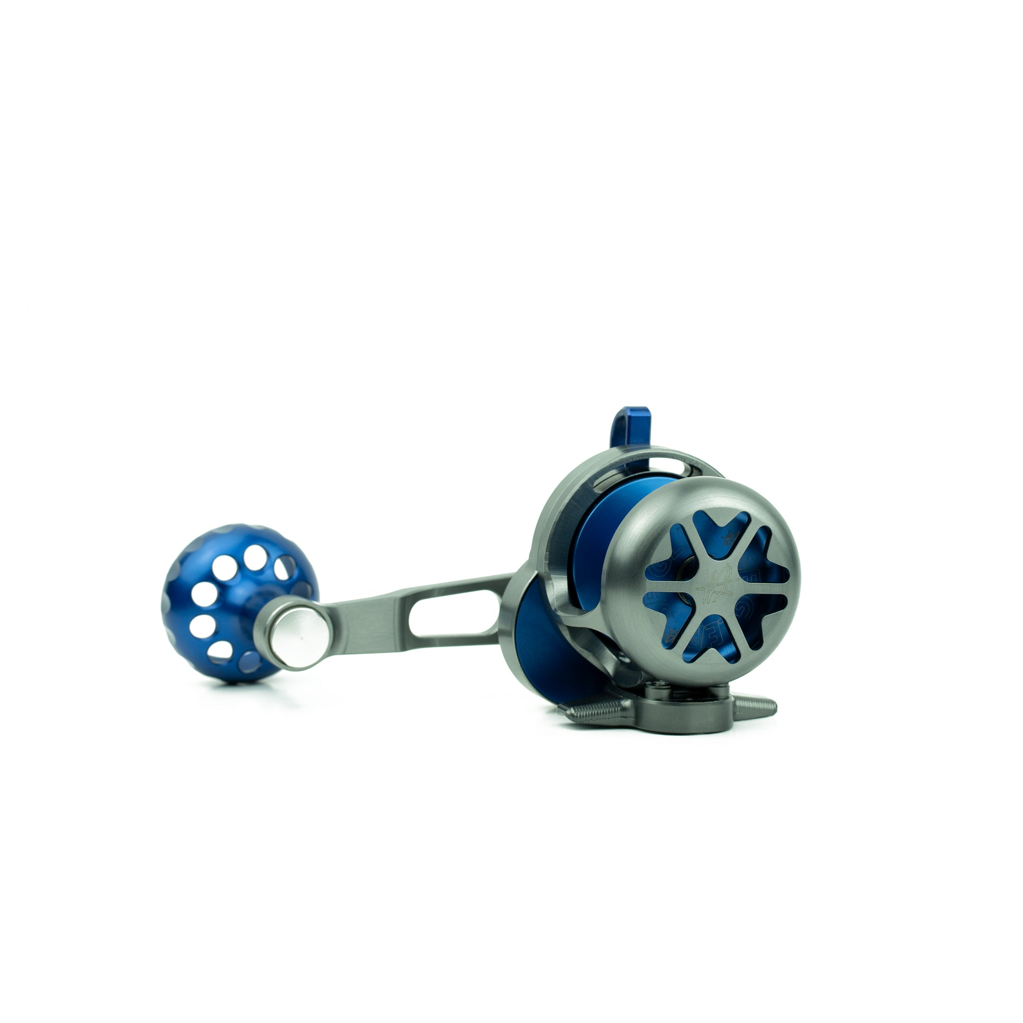 Seigler SGN Signature Custom Lever Drag fishing reel with cut outs to save weight.