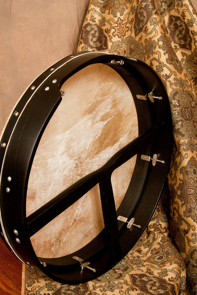 Roosebeck Tunable Mulberry Bodhran T-Bar – 18 x 3.5 inches - Black