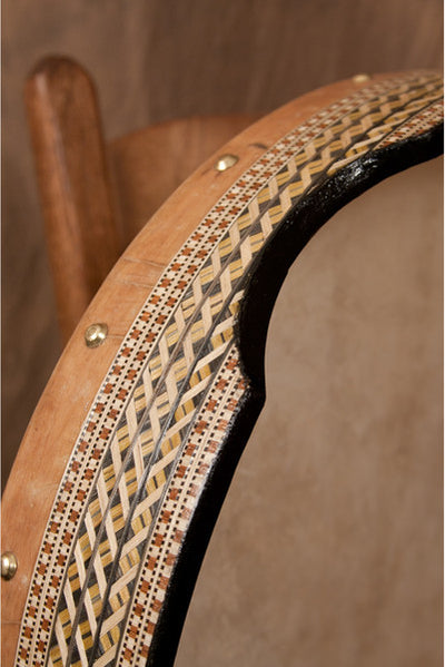 Mid-East Pretuned Goatskin Head Deff with Wood Mosaic 18 inches