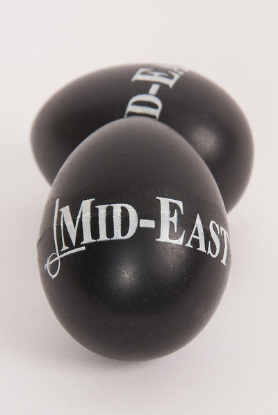 Mid-East Plastic Egg Shakers - Pair - Black Logo
