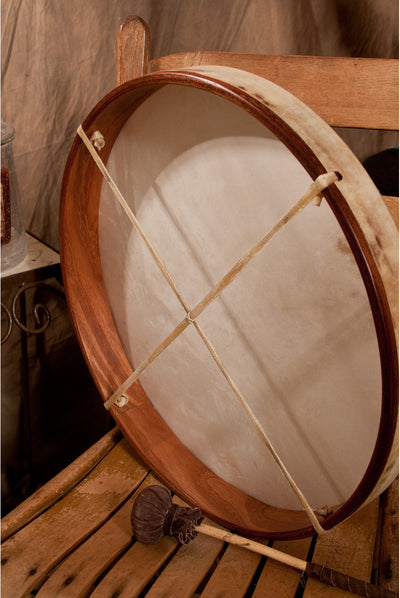 DOBANI Pretuned Goatskin Head Red Cedar Wood Frame Drum with Beater 18 x 2 inches