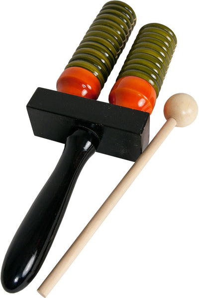 DOBANI Wooden Double Bell Agogo with Mallet - Green & Orange - Agogos - AGDG