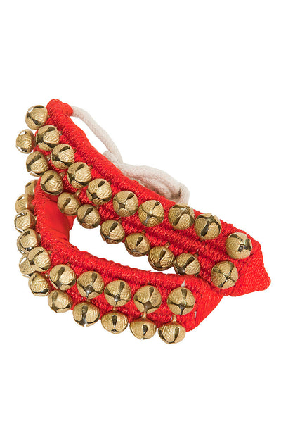 Mid-East Pad of 2-Row Round Ankle Bells - Pair - Red - Ankle Bells - ANKL2-RD