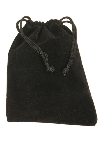 "Mid-East Velvet Drawstring Bag for Finger Cymbals 4"" x 5.5"" - Black - Finger Cymbal Accessories - VBAG"