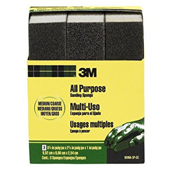3M™ Sanding Sponge, 3.75 in. x 2.625 in. x 1 in. Medium/Coarse, 3 Pk.