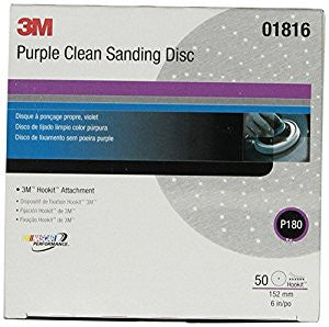 3M™ Purple Clean Sanding Hookit™ Disc 734U 6 in. P180 Grit, 50 pk.