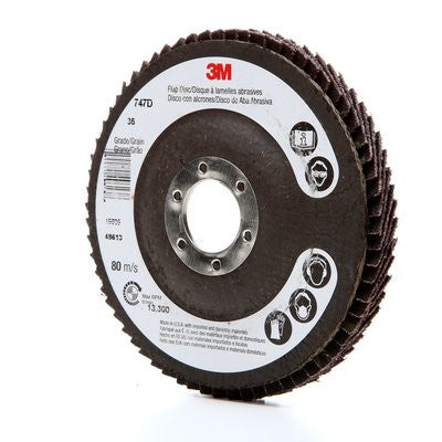 3M™ Flap Disc 747D, T27 4-1/2 in. x 7/8 in. 36 Grit, 10 pk.