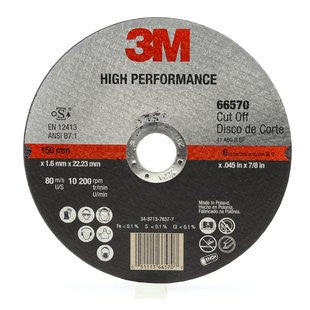 3M™ High Performance Cut-Off Wheel T1, 6 in. x .045 in. x 7/8 in. 25 pk.