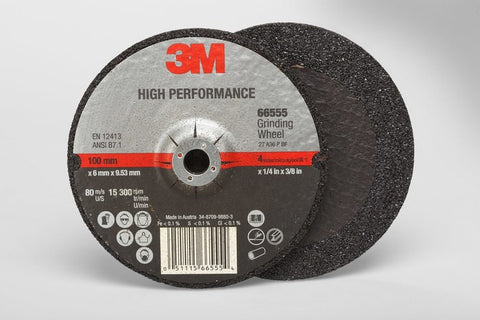 3M™ High Performance Depressed Center Grinding Wheel T27, 4 in. x 1/4 in. x 3/8 in. 25 pk.