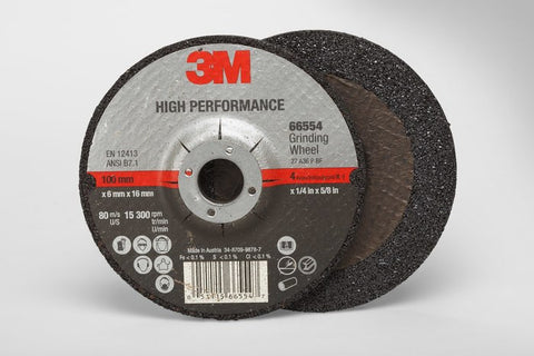 3M™ High Performance Depressed Center Grinding Wheel T27, 4 in. x 1/4 in. x 5/8 in. 25 pk.