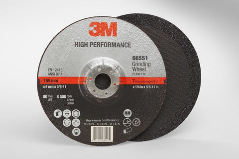 3M™ High Performance Depressed Center Grinding Wheel T27 Quick Change, 7 in. x 1/4 in. x 5/8-11 in. 25 pk.