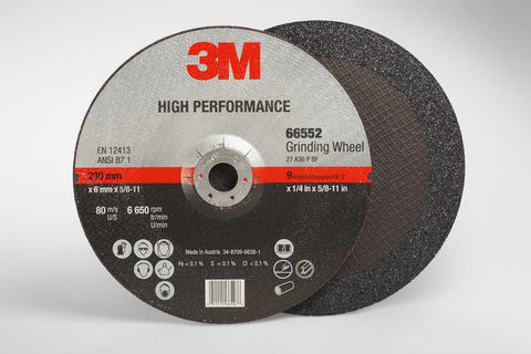 3M™ High Performance Depressed Center Grinding Wheel T27 Quick Change, 9 in. x 1/4 in. x 5/8-11 in. 25 pk.