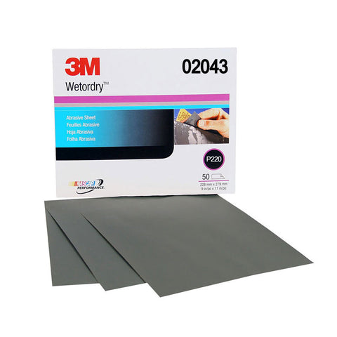 3M™ Wetordry™ Sheet 220 grit 9 in. x 11 in. 50 pk. (1 Sleeve)