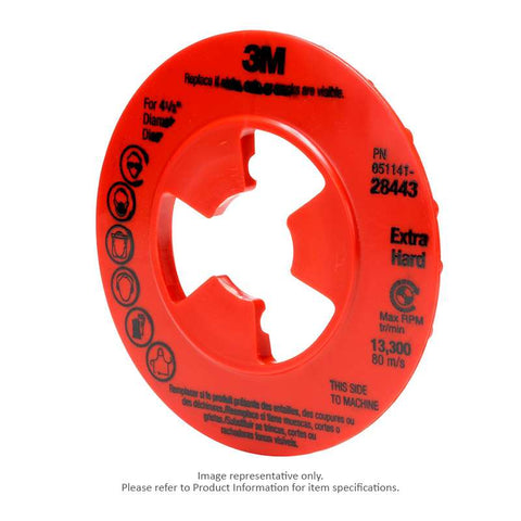 3M™ Disc Pad Face Plate Ribbed, 5 in. Extra Hard Red