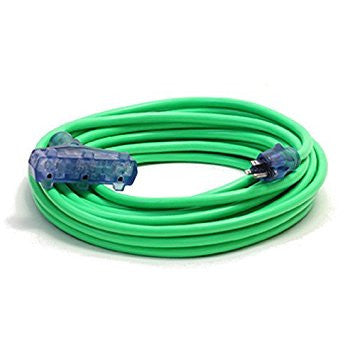 Century Wire Pro Glo Triple Tap 100 ft. Extension Cord (Green)