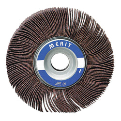 "Merit 1-1/2"" Mounted Abrasive Flap Wheel, Coated, 1"" Width, 1/4"" Shank Size, Aluminum Oxide, 120 Grit, 10 pk.Liquid error (product-grid-item line 33): comparison of String with 0 failed"
